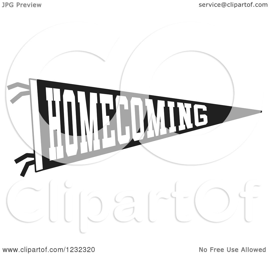 Clipart Of A Black And White Homecoming Team Pennant Flag