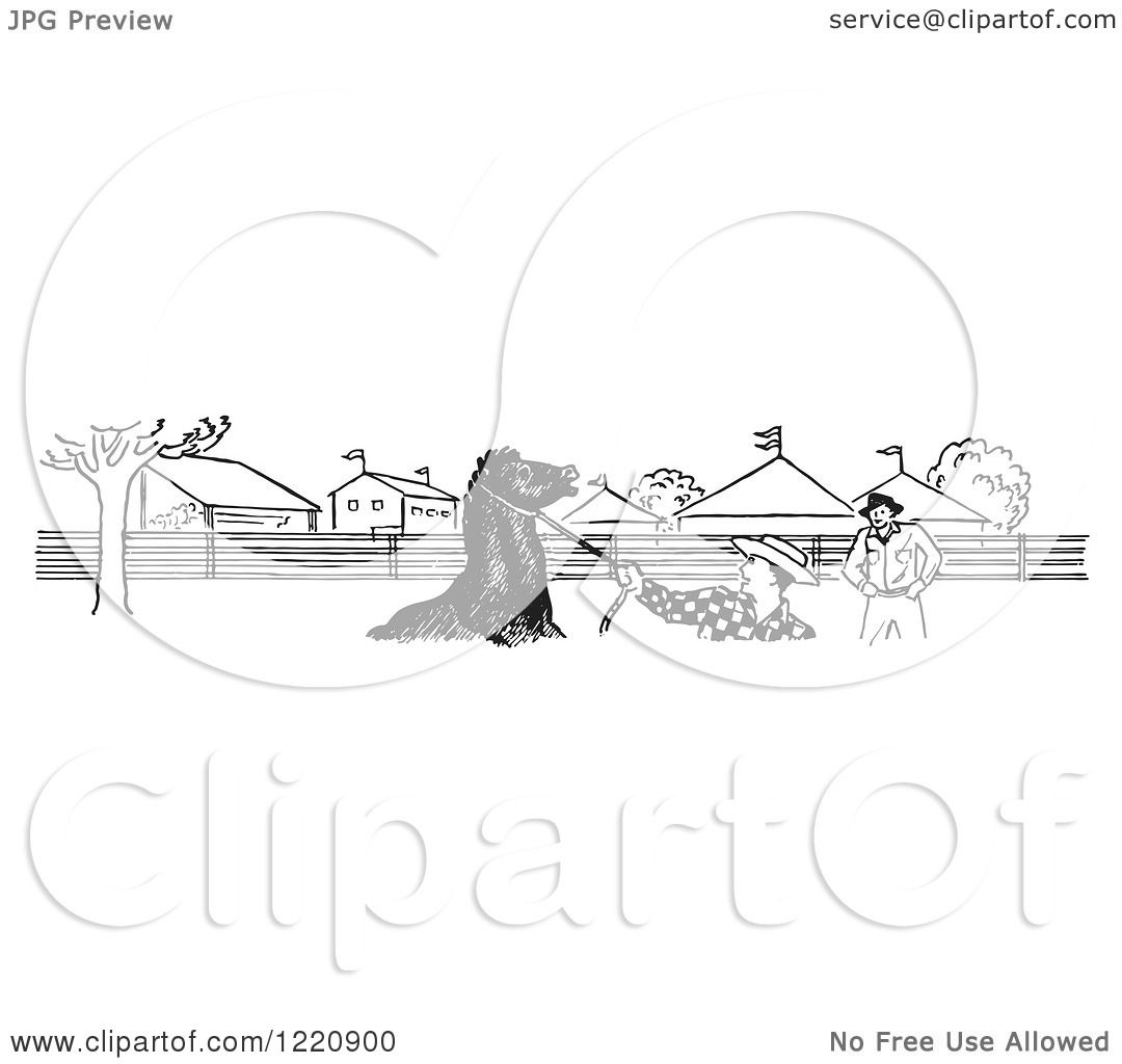 Clipart Of A Black And White Horse And Cowboys At The