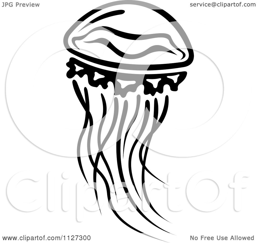 Clipart Of A Black And White Jellyfish 2