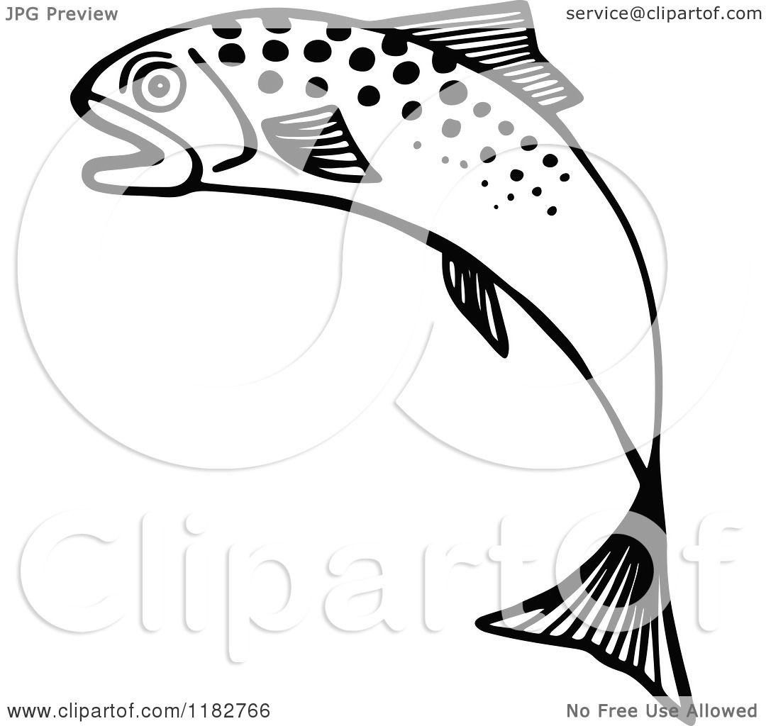 Clipart Of A Black And White Jumping Fish