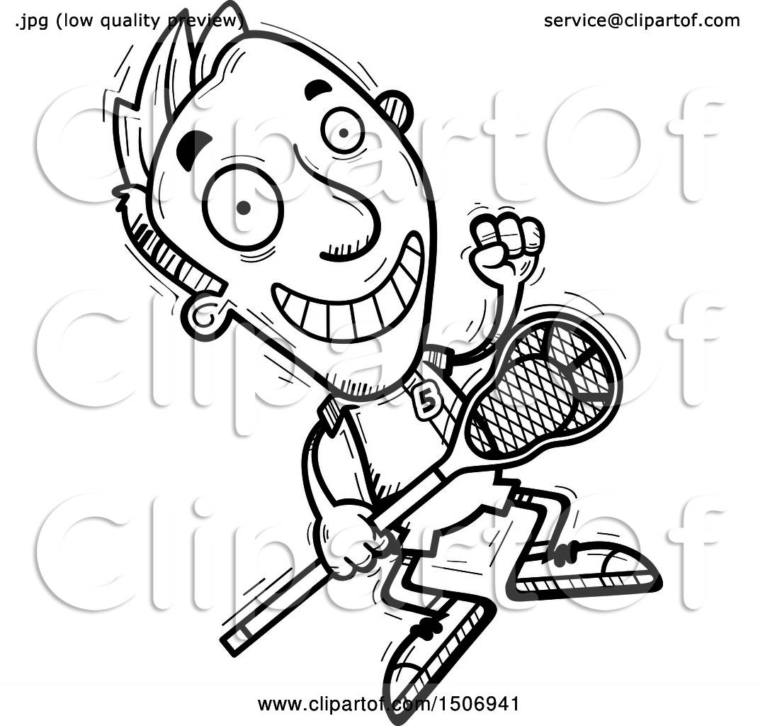 Clipart Of A Black And White Jumping Male Lacrosse Player