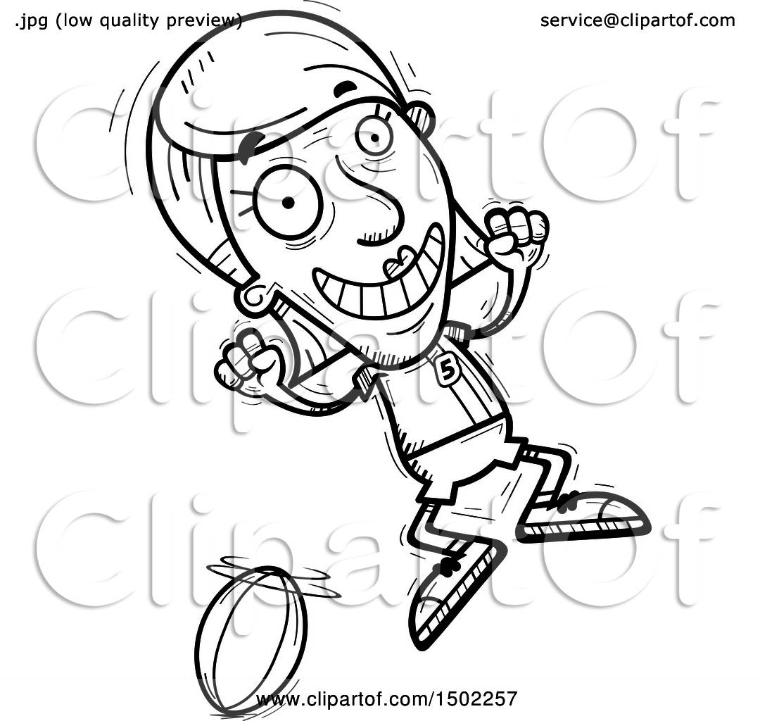 Clipart Of A Black And White Jumping Senior Female Rugby