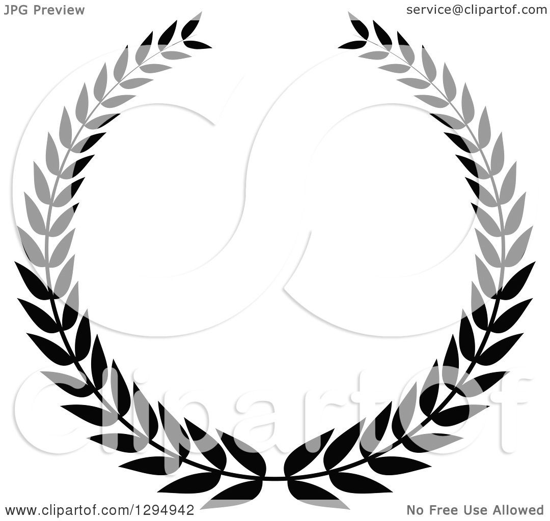 Clipart Of A Black And White Laurel Wreath 2