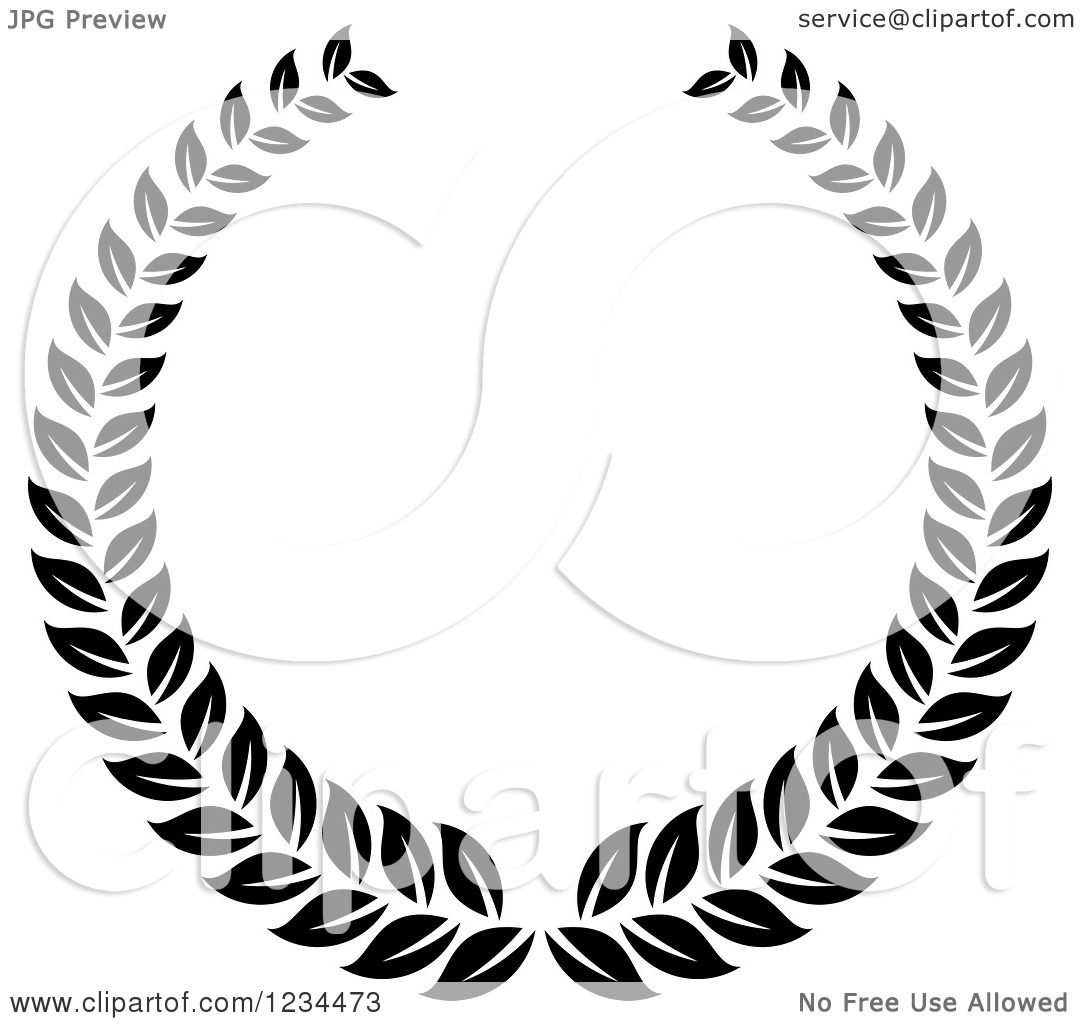 Clipart Of A Black And White Laurel Wreath 7