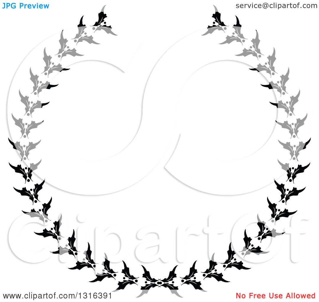 Clipart Of A Black And White Laurel Wreath Design 3
