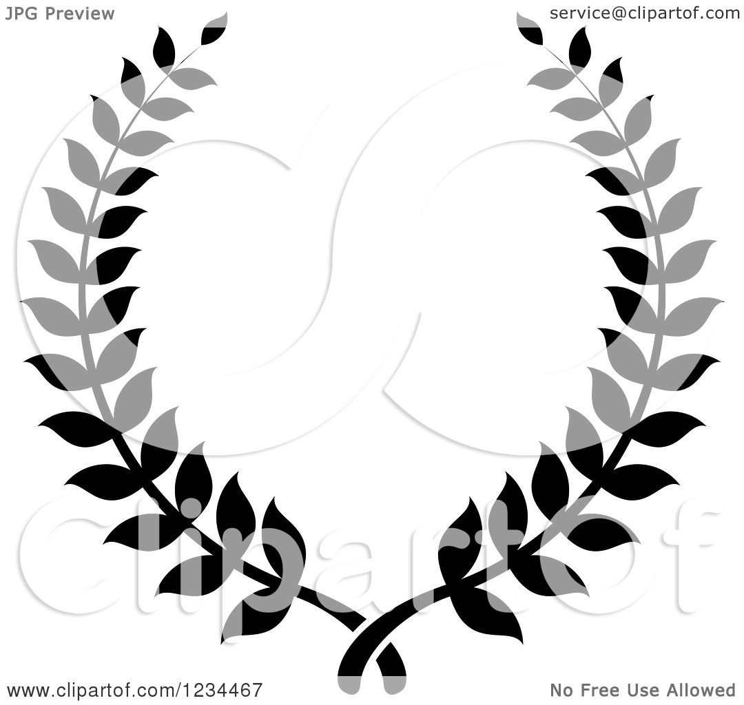 Clipart Of A Black And White Laurel Wreath