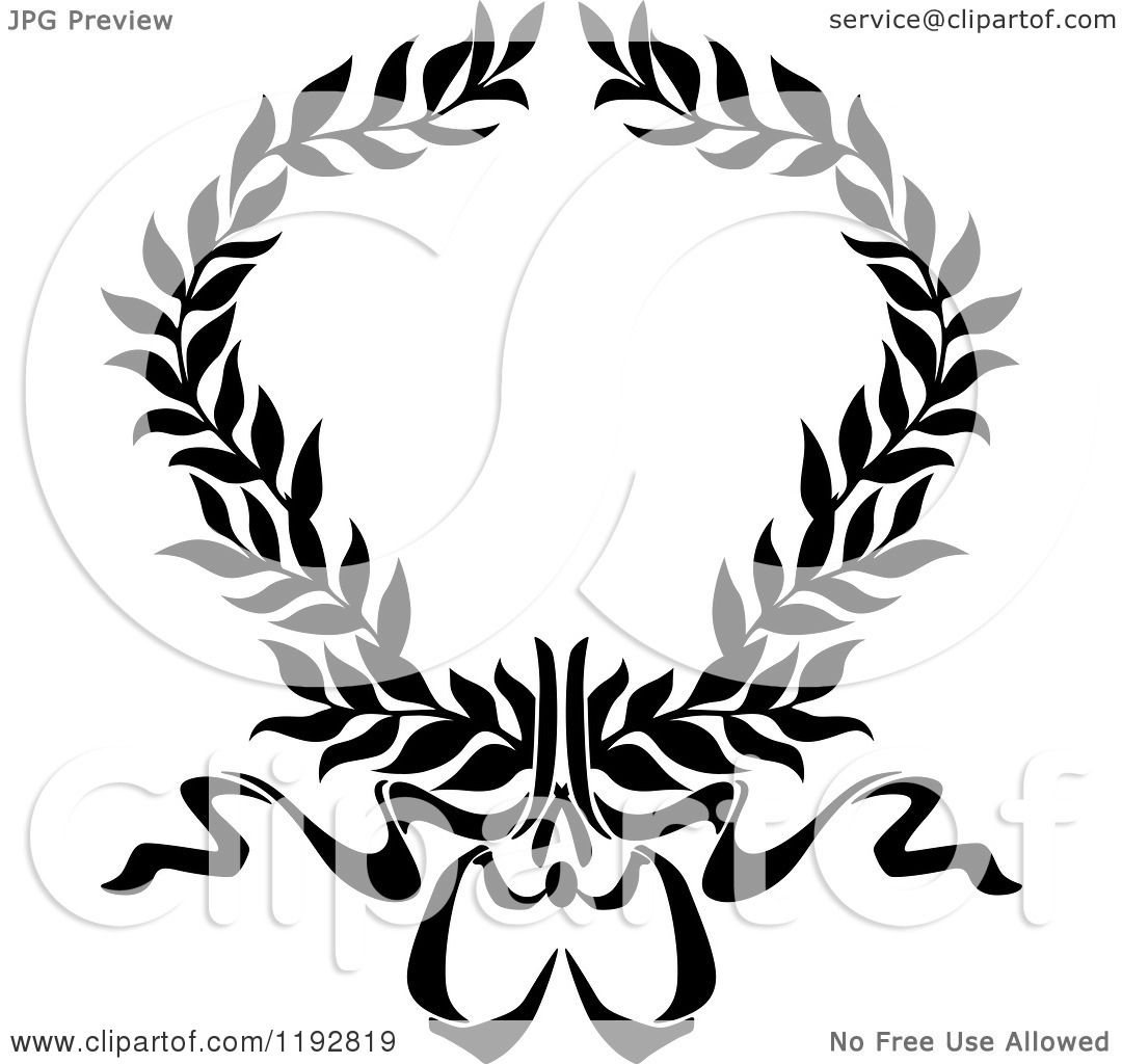 Clipart Of A Black And White Laurel Wreath With A Bow And