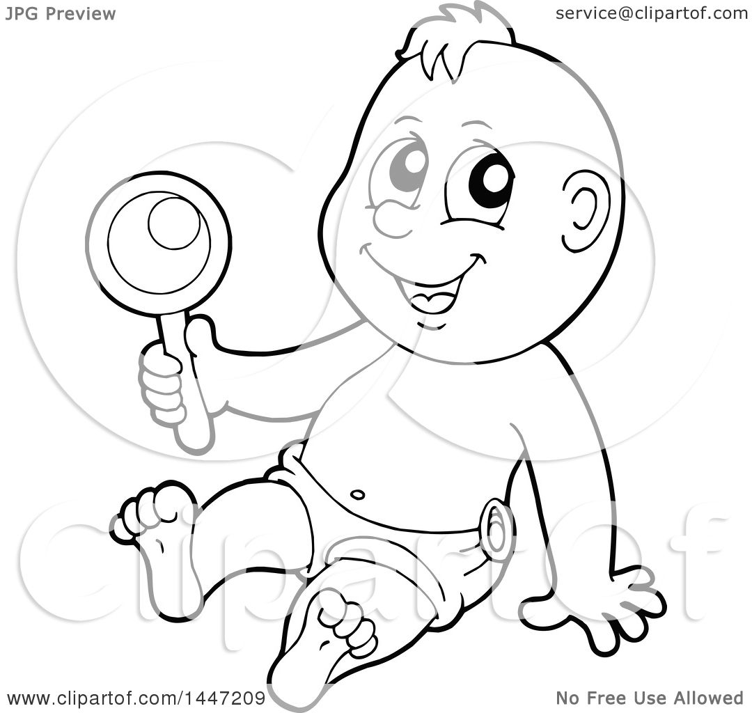 Clipart Of A Black And White Lineart Baby Boy Playing With A Rattle