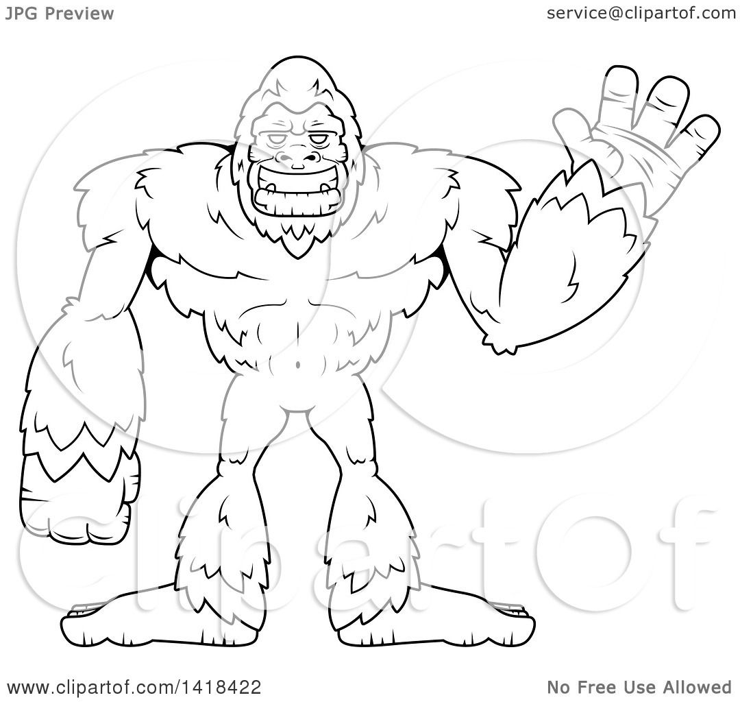 Clipart Of A Black And White Lineart Bigfoot Sasquatch