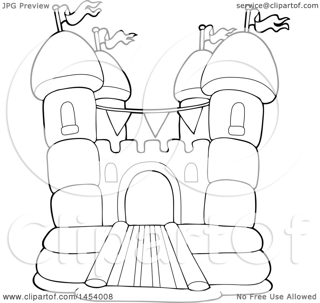 Clipart Of A Black And White Lineart Bouncy House Castle