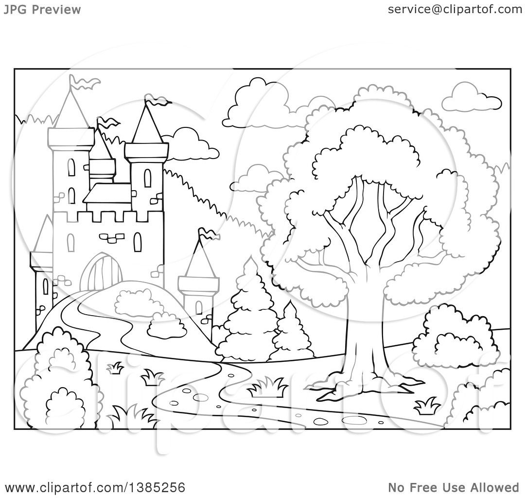 Clipart Of A Black And White Lineart Castle Landscape