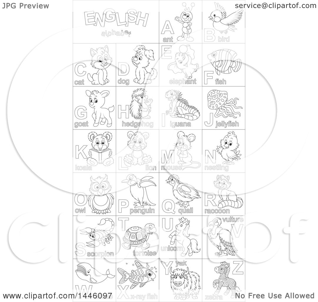 Clipart of a Black and White Lineart Chart of Cute Animals