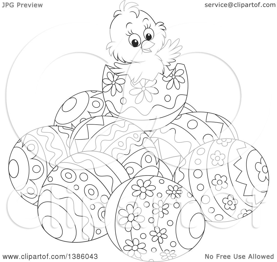 Clipart Of A Black And White Lineart Chick On Top Of A