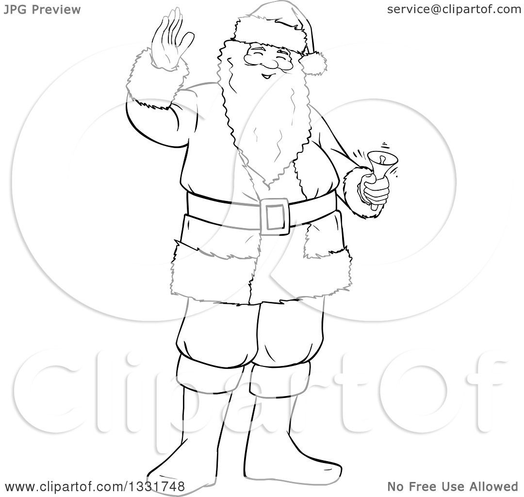 Clipart Of A Black And White Lineart Christmas Santa Claus