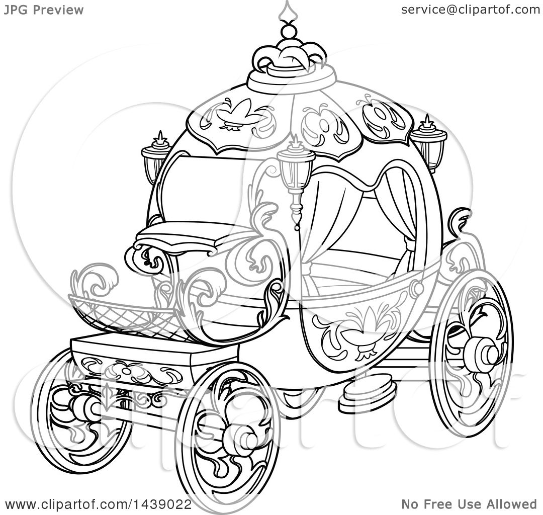 Clipart of a Black and White Lineart Cinderella Story