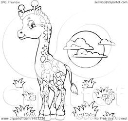 giraffe cute sun clipart baby illustration vector lineart royalty visekart collc0161