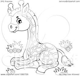giraffe baby cute clipart resting illustration lineart clip visekart royalty vector clipartof