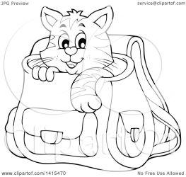 cat inside backpack clipart cute lineart illustration royalty vector visekart copyright collc0161