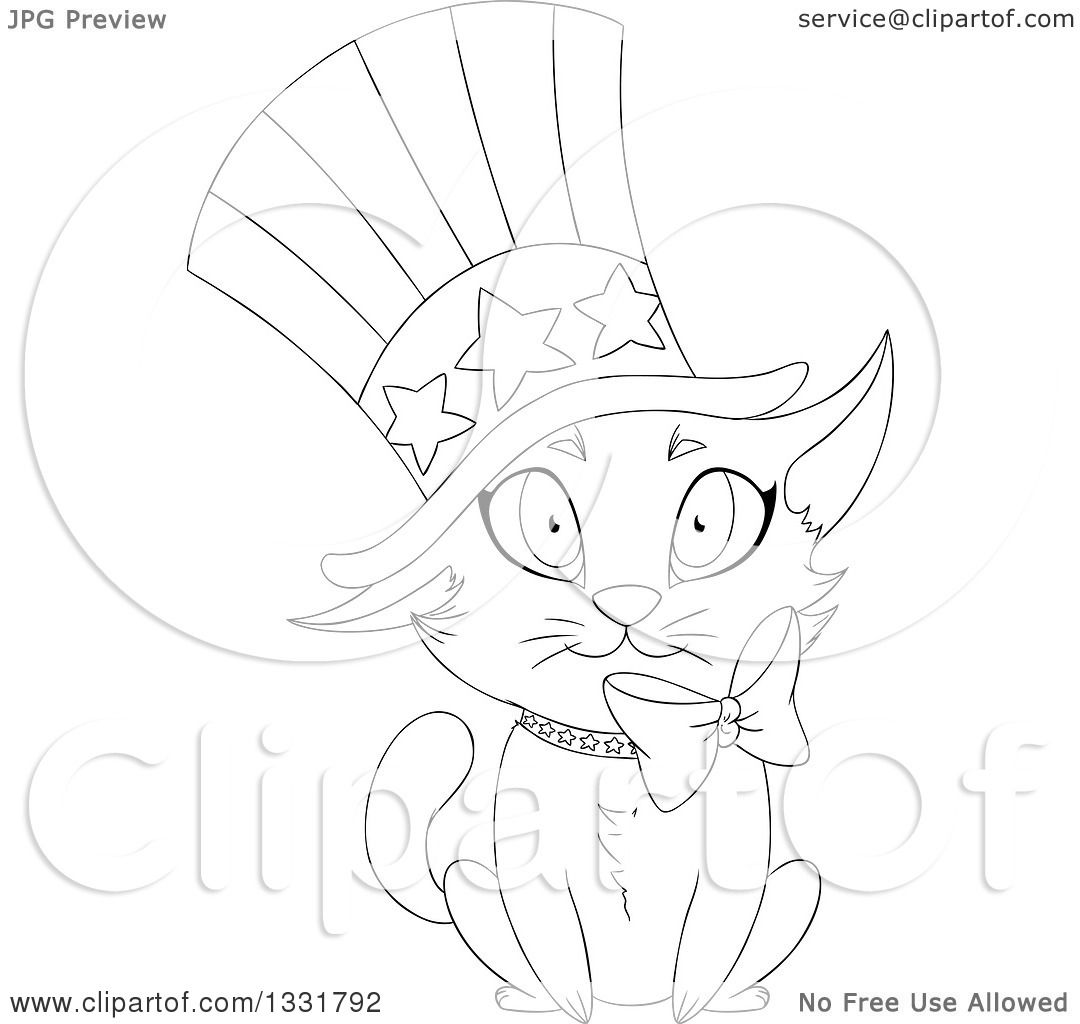Clipart Of A Black And White Lineart Cute Independence Day