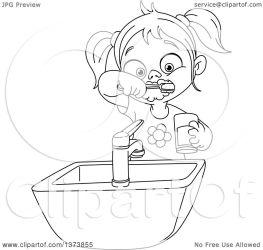 teeth brushing clipart brush illustration lineart woman yayayoyo royalty cartoon clip vector clipground