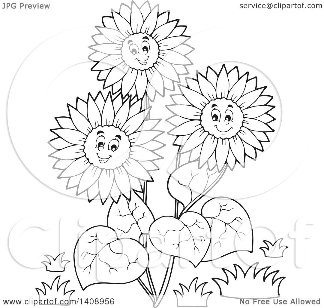 Clipart Of A Black And White Lineart Group Of Happy