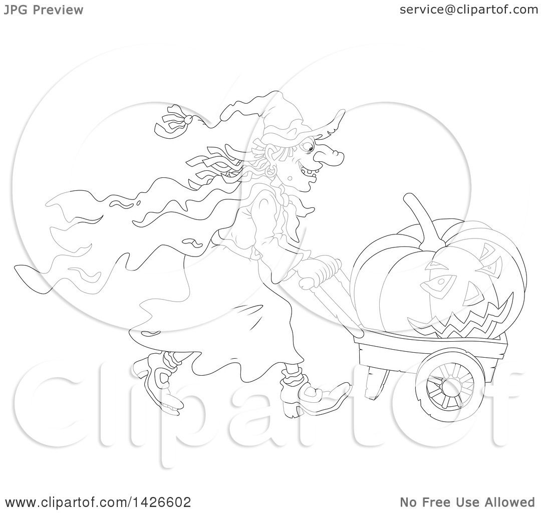 Clipart Of A Black And White Lineart Halloween Witch Pushing A Jackolantern In A Wagon