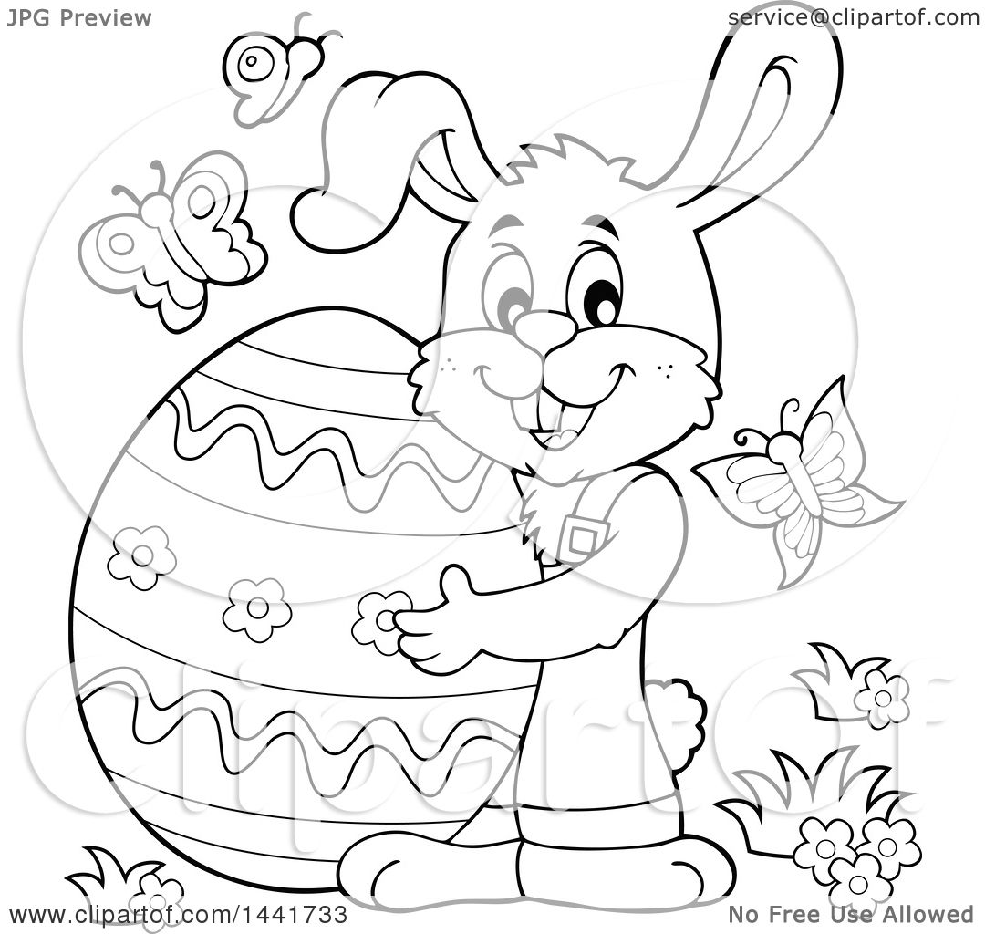 Clipart Of A Black And White Lineart Happy Easter Bunny