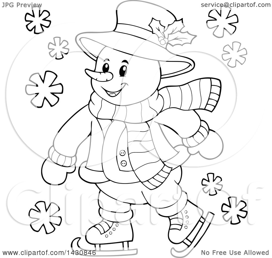 Clipart Of A Black And White Lineart Happy Snowman Ice