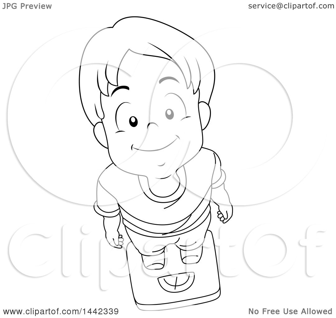 Clipart Of A Black And White Lineart Little Boy Looking Up