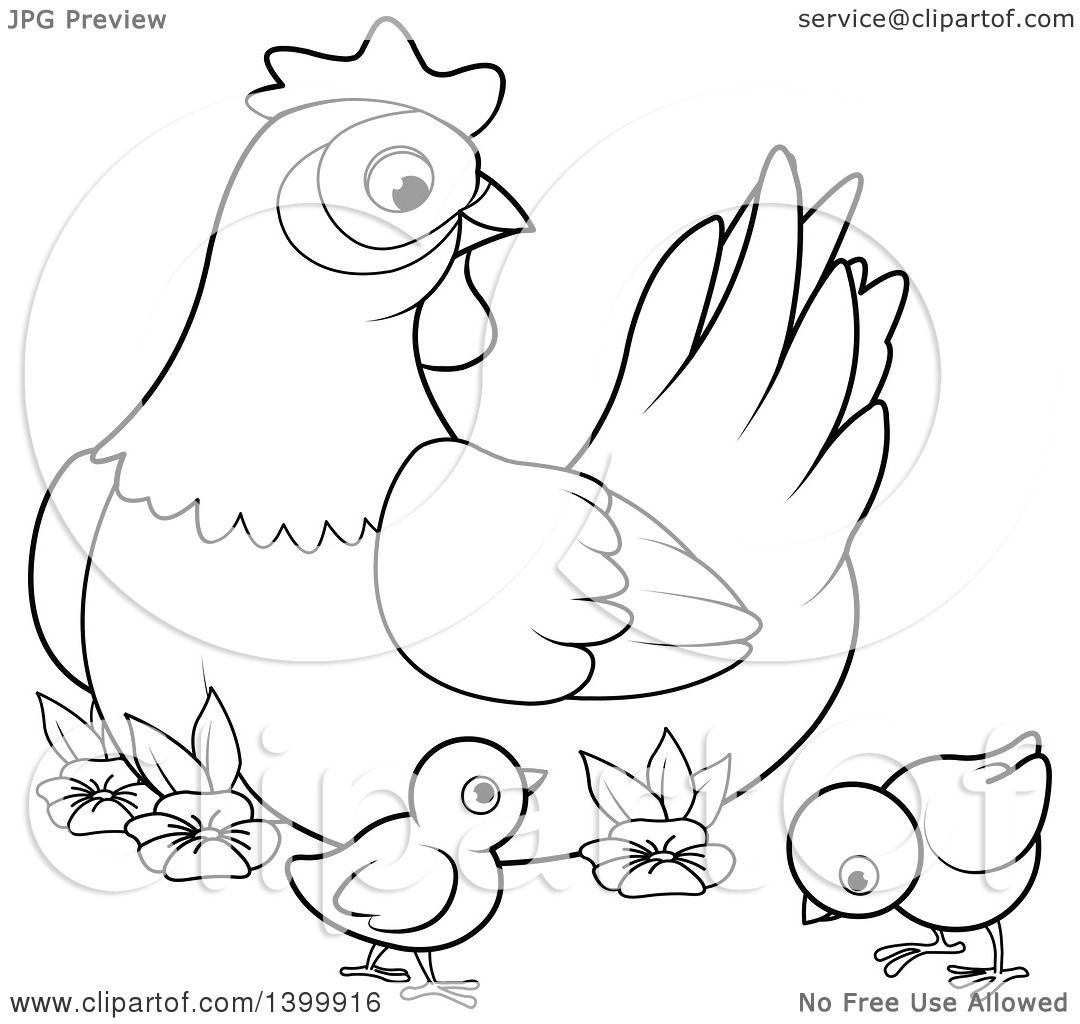 Clipart Of A Black And White Lineart Mother Hen Chicken