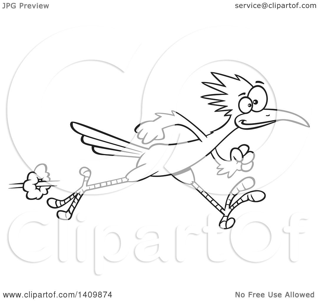 Clipart Of A Black And White Lineart Sprinting Roadrunner