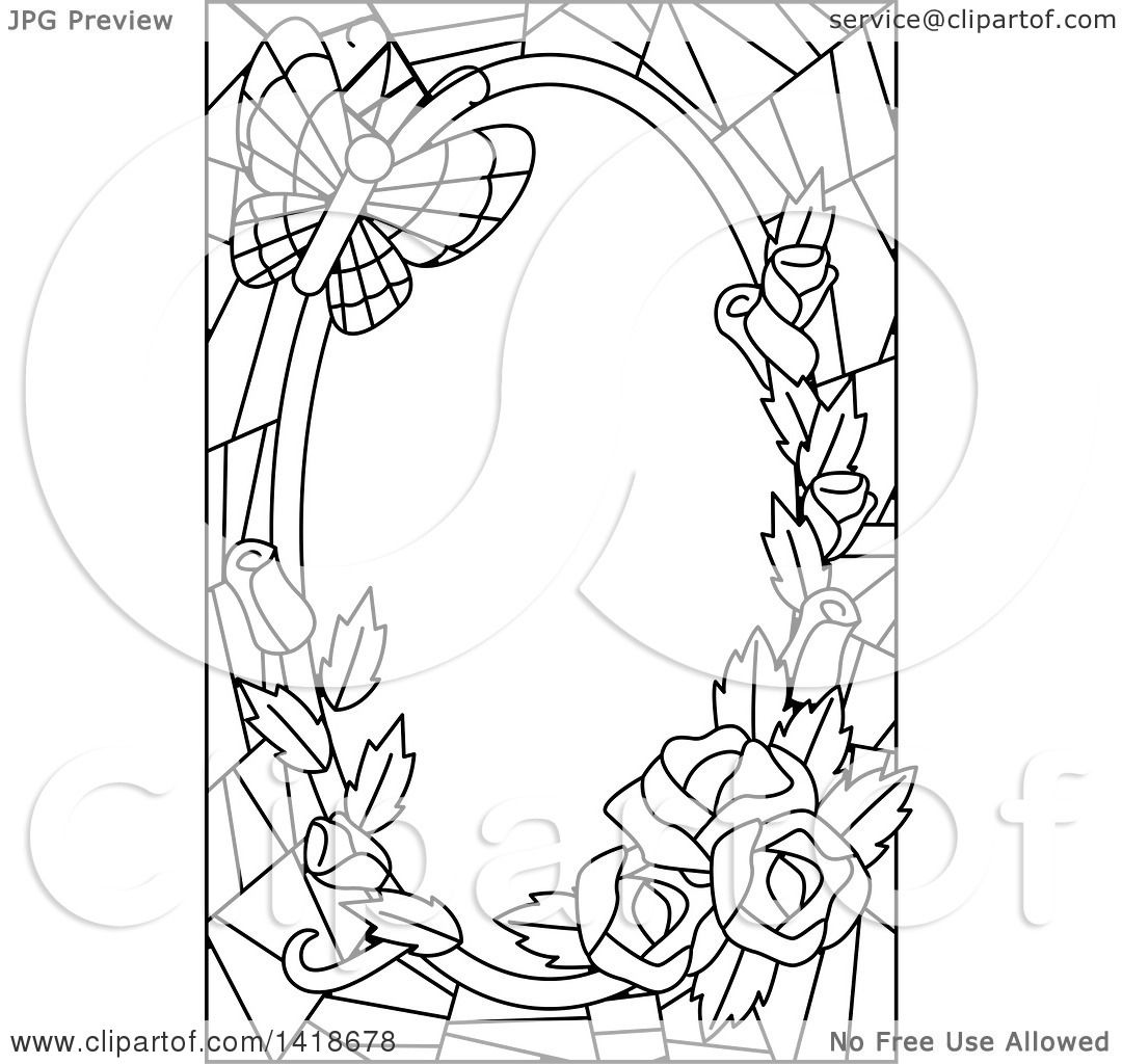 Clipart Of A Black And White Lineart Stained Glass Border Of Roses And A Butterfly