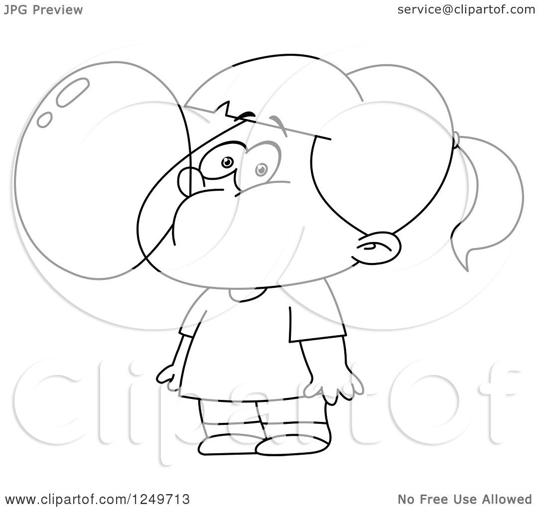 Clipart Of A Black And White Little Girl Blowing A Bubble
