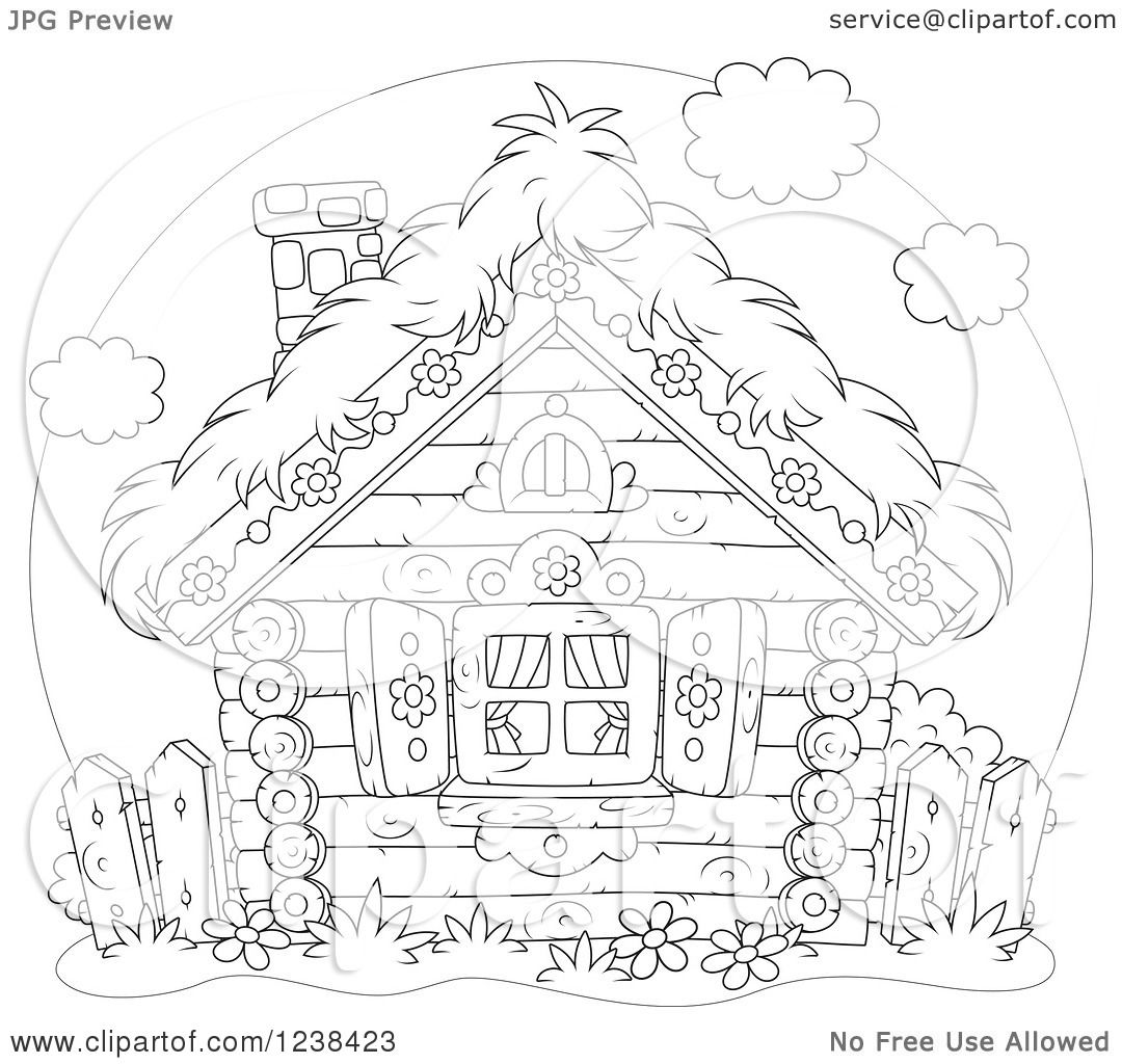 Clipart Of A Black And White Log Cabin With A Straw Roof