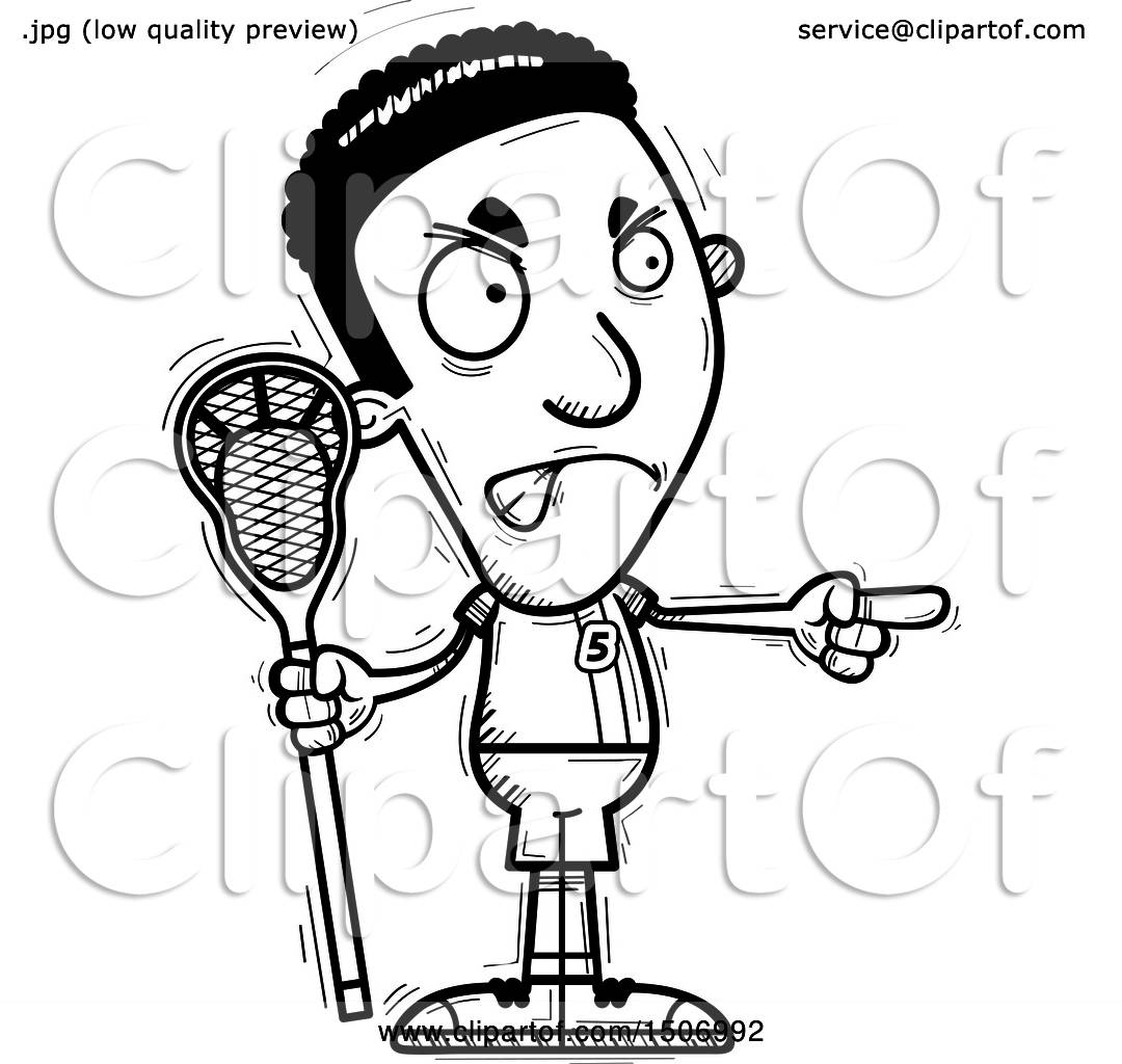 Clipart Of A Black And White Mad Pointing Black Male