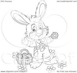 standing bunny easter basket illustration clipart male eggs royalty vector bannykh alex
