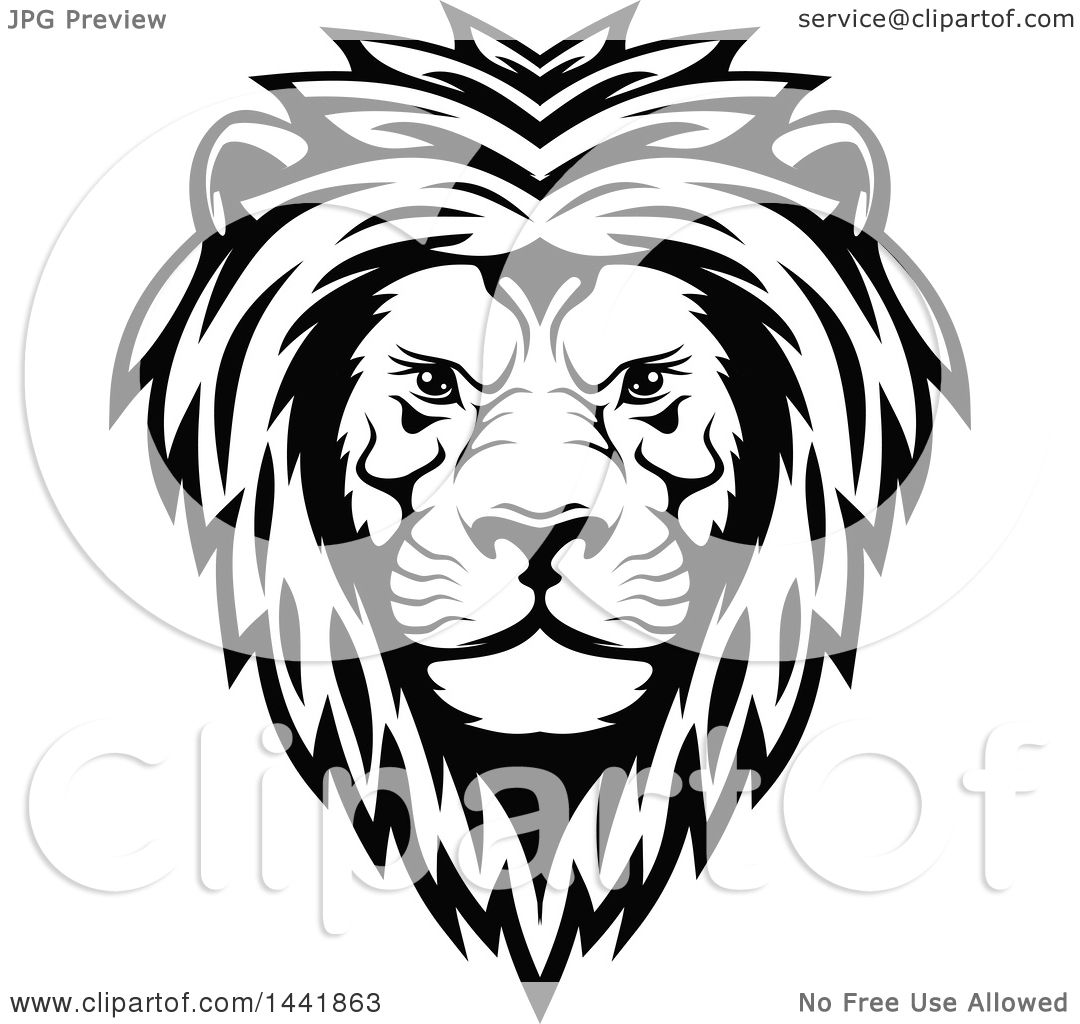 Clipart Of A Black And White Male Lion Head