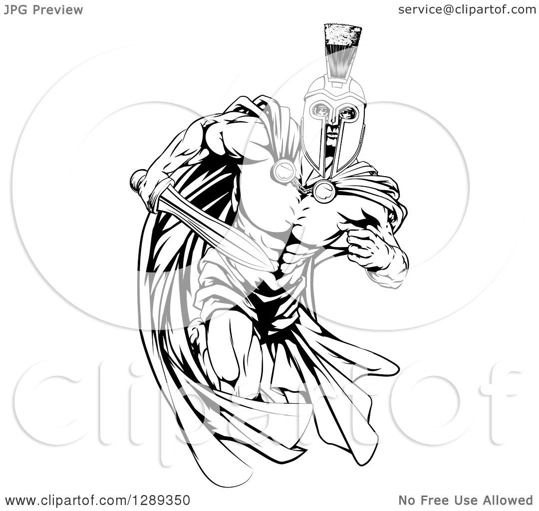 Clipart of a Black and White Muscular Spartan Warrior Man