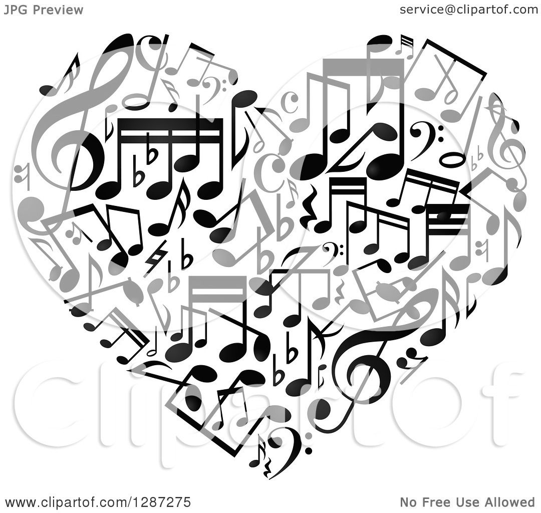 Clipart Of A Black And White Music Note Heart