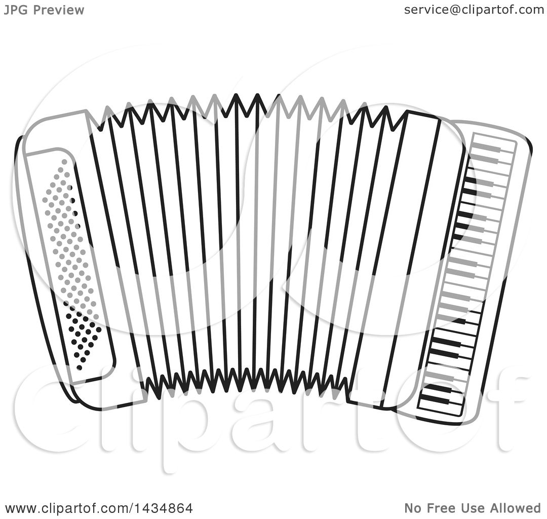 Clipart Of A Black And White Musical Accordion