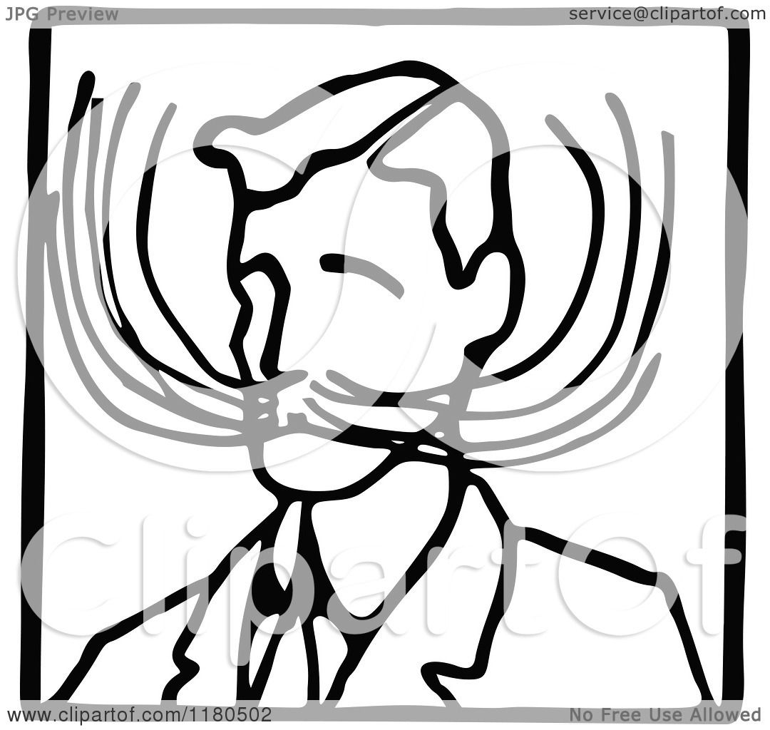 Clipart Of A Black And White Mustache Man Icon
