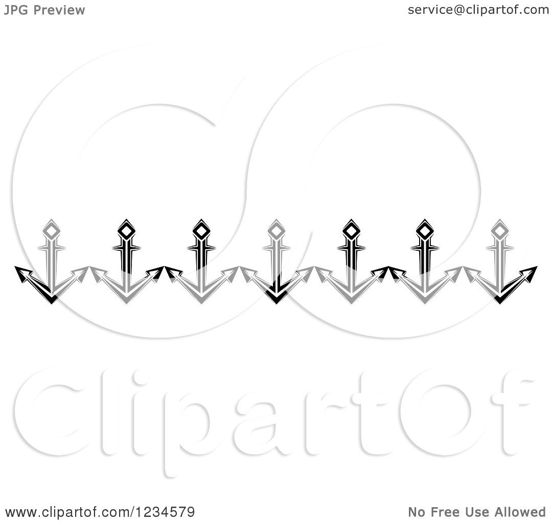 Clipart Of A Black And White Nautical Anchor Border