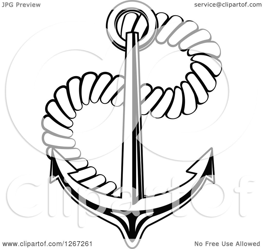 Clipart Of A Black And White Nautical Anchor With Rope