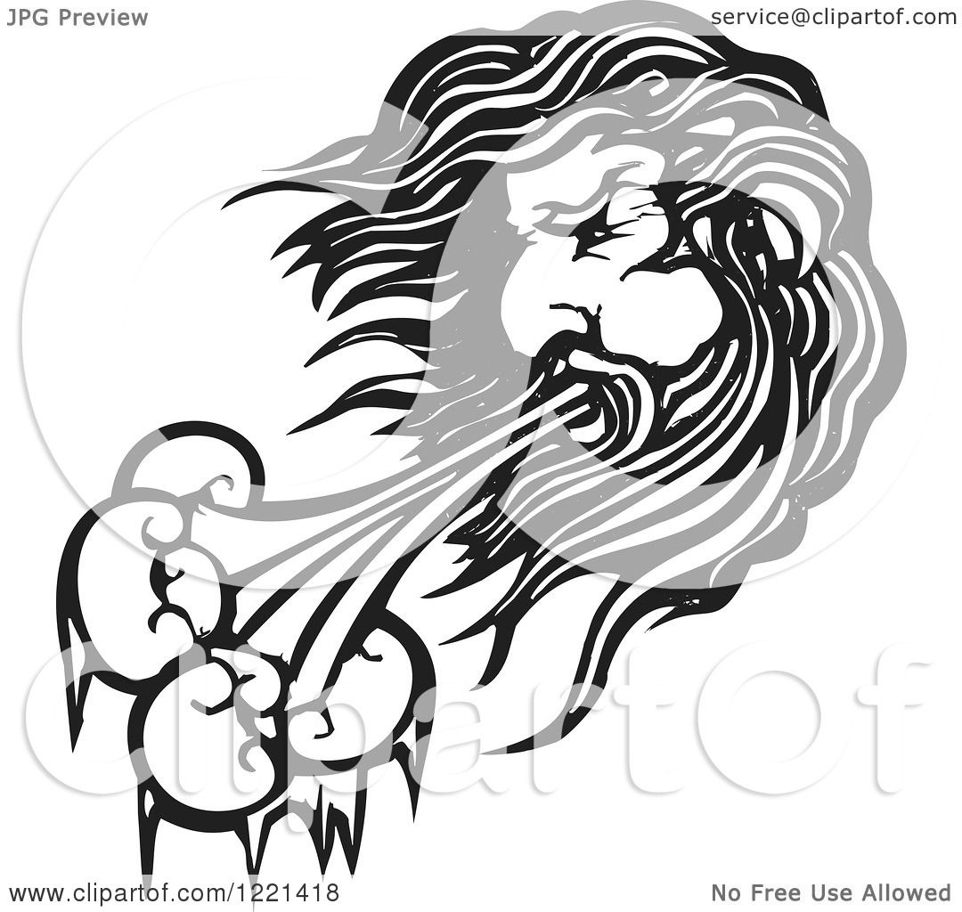 Clipart Of A Black And White North Wind Man Woodcut