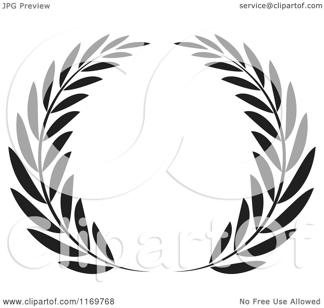 Clipart Of A Black And White Olive Wreath