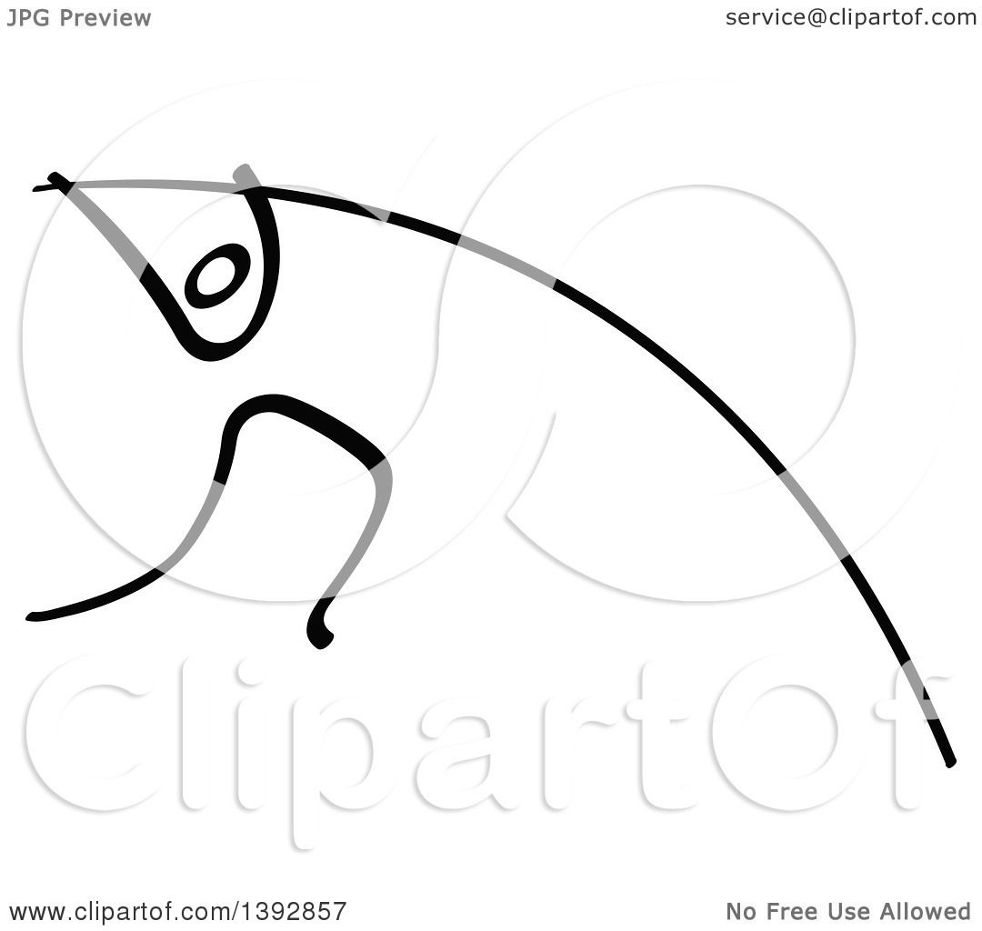 Clipart Of A Black And White Olympic Track And Field Stick