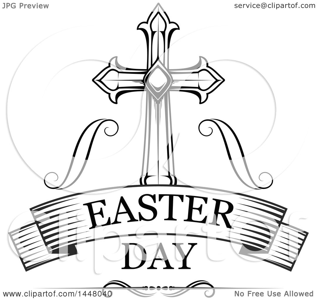 Clipart Of A Black And White Ornate Cross Over Easter Day