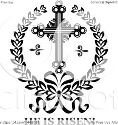 clipart of a black and white ornate easter cross in a laurel wreath over he is [ 1080 x 1024 Pixel ]