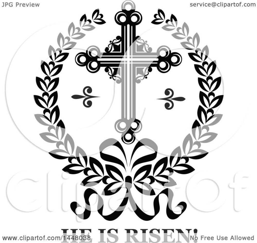 medium resolution of clipart of a black and white ornate easter cross in a laurel wreath over he is