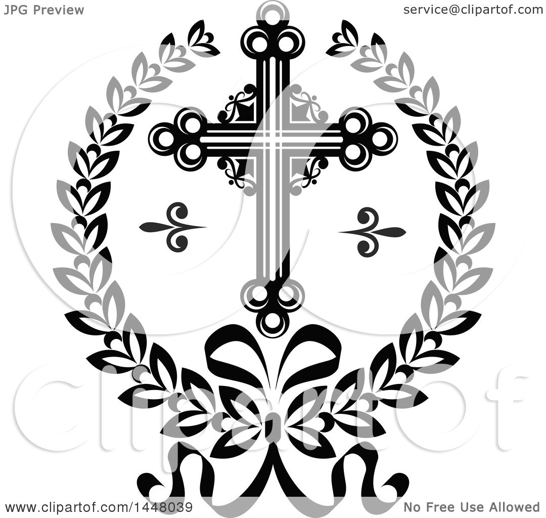 Clipart Of A Black And White Ornate Easter Cross In A